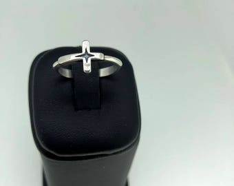 Simple Cross Ring, Silver Cross Ring, Womans Cross Ring, Cute Cross Ring, Christian Ring, Womans Silver Ring, Silver Girls Ring, Unique Ring