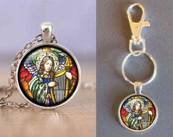 Angel Playing Harp-Stained Glass Look - Glass Pendant -Your Choice of Necklace or Keychain