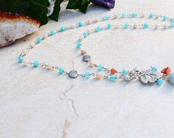 Boho Vintage Style Agate Crystal Hippie Chain Gypsy Necklace Gift for Her