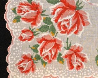 Vintage Handkerchief with Roses
