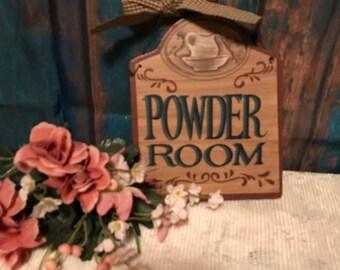 Vintage Wooden Powder Room Hanging Sign