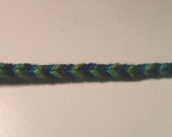 Green and blue fishtail friendship bracelet