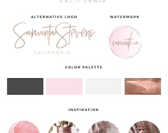 Pink logo, Premade logo, Watercolor logo, Business logo, Blog branding kit, Blog logo kit, Photography logo, Calligraphy logo, logo design
