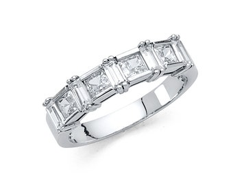 14k Solid White Gold 1.25 Ct Wedding Band Ring Princess Cut Diamonds 3.4 Grams