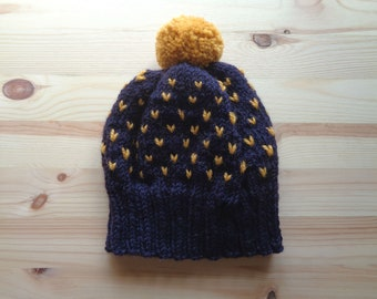 Handknit Fair Isle Wool Beanie with Pompom - Purple & Mustard Winter Hat - Colour Block Fair Isle Ski Hat