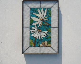 8x12 MOSAIC FLORAL VIGNETTE  - hand made - decortive glass mosaic mini panel in steel frame - indoor or outdoor wall art turqouise and white