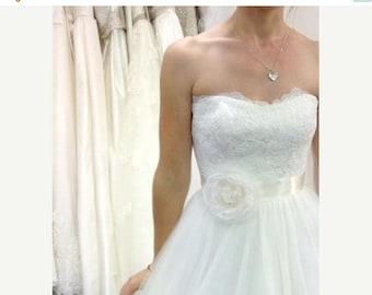 ON SALE Whimsical Sheer Bridal Flower Sash.. Wedding Dress Sash. Vogue Bridal Shower Gift. Ivory Hand Made Flower. Sweet Boho Style. Cinch S