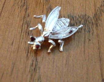 Sterling Silver and Red Garnet Bee Pin