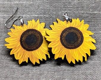 Sunflower Earrings / Laser Cut Wood Earrings / Stainless Steel / Hypoallergenic / Flower Jewelry / Flower Earrings / Sunflower Jewelry / lg