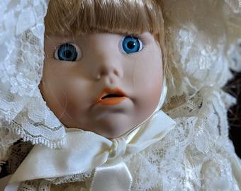Lady in White Vintage Porcelain Doll