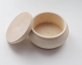 65 mm round unfinished wooden box - with cover - natural, eco friendly - DZ