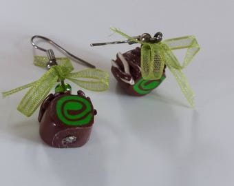 "Earrings ""Pistachio chocolate Christmas log"" in Fimo"