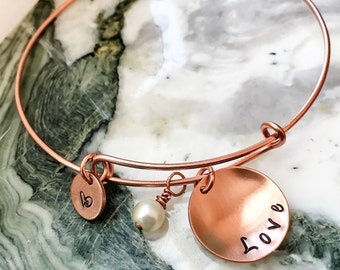 ChooseYourMetal Adjustable Bangle Bracelet, Stackable Bracelet, Personalized Bangle, Charm Bracelet, Your Quote, Name, Mantra