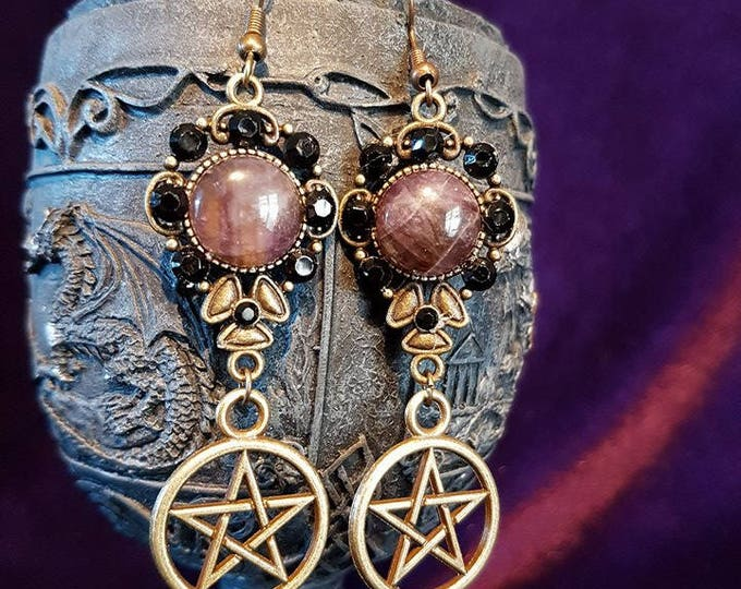 Earrings with pentagram, amethyst and rhinestones - witch gothic wicca occult magic pagan