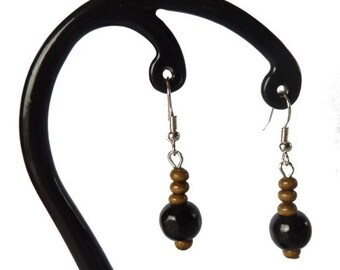 Black and light brown wood earrings