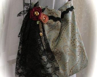 SALE Handmade Fabric Bag, silk paisley fabric, black lace embellished, fabric rose flowers, slouchy boho purse, unique bag, ooak bag