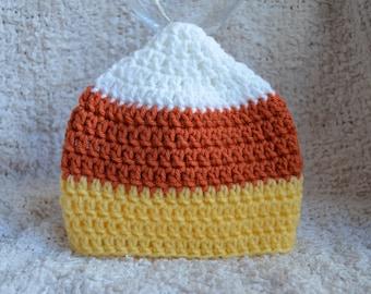 Crocheted Newborn Halloween Fall Candy Corn Photo Prop Hat Size 0-6 Months