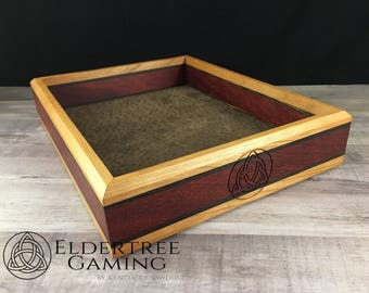Premium Dice Tray - Table Top Sized - Knight's Honor With Leather Rolling Surface - Eldertree Gaming