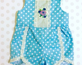 Blue Baby Romper with Polka Dots, Hand Embroidered, Baby Heirloom Outfit