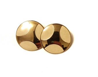 Gold with Cream Coloured Spots Vintage Earrings