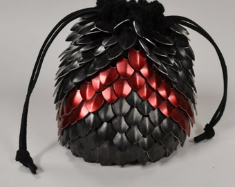 Red Chevron Scale Maille Dice Bag of Holding in Knitted Dragonhide Armor
