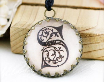 Custom cursive initial (unisex) necklace - glass pendant