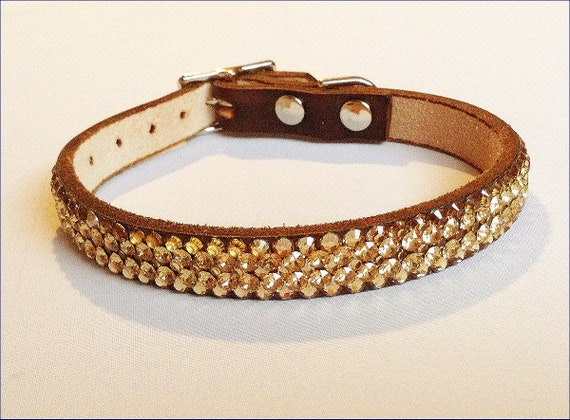 Custom Super Bling 8-10 Gold Ore leather pet collar Exclusive 3D Iced design w/ Swarovski Crystal Rhinestone Small Dog Cat Breakaway Safety