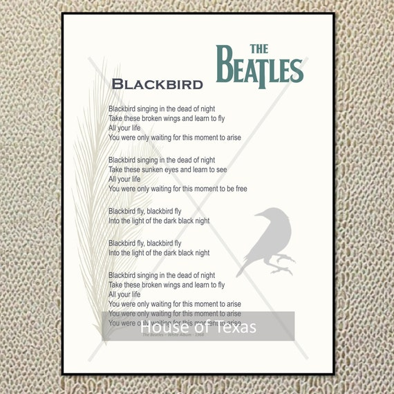 Blackbird print the beatles beatles lyrics from the stopboris Images