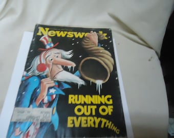 Vintage November 19, 1973 Newsweek Magazine, Running Out Of Everything, collectable