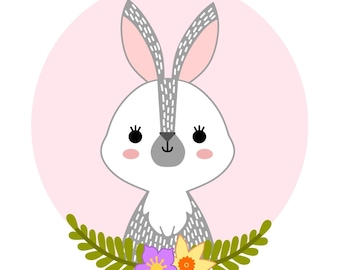 PRINTABLE digital illustration - HARE - instant download, nursery wall art, printable wall decor, woodland animals, bunny drawing, rabbit