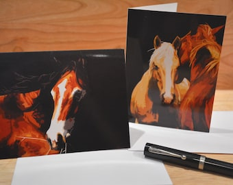 HORSES (A) 6 PACK note cards (2 styles) with envelopes - Catch The Wind, A Little To The Left