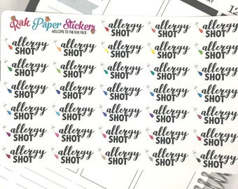 Allergy Shots / vaccines - set of 54 stickers for your Erin Condren, Inkwell Press, Happy Planner or other calendar or planner!