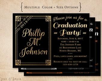Printable Graduation Party Invitation - Modern Chalkboard Frame - 4.25x5.5 4x6 5x7 - Black Gold White or School Colors - Grad Class Teen