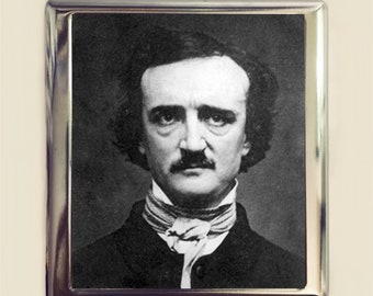 Edgar Allan Poe Cigarette Case Business Card ID Holder Wallet Goth Author Portrait Literary The Raven Gift English Majors