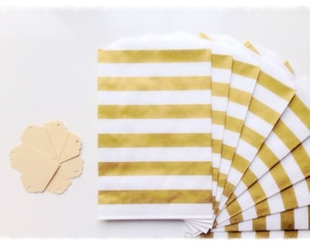 BITTY BAGS Metallic Gold Striped Favor Bags w/ Choice of Tags ~ Wedding Favor, Treat Bags, Thank You / Gift Tags, Paper Bags, Glassine