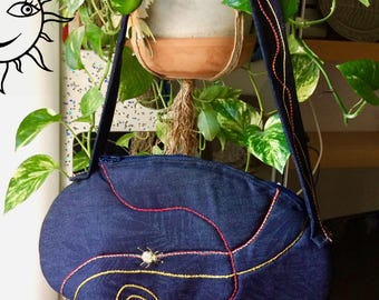 LAURASOLELUNA-handbag in fancy and decorated jeans-unique handmade piece-Made in Italy