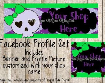 Skull Girl Facebook Set, Facebook banner, Facebook graphics, Facebook cover photo, store graphics, timeline set, Punk, Skull and Crossbones