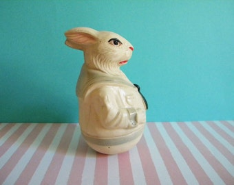 Vintage Celluloid Easter Bunny Rabbit Rolly Poly Anthropomorphic Weighted Toy in Sailor Suit Viscoloid