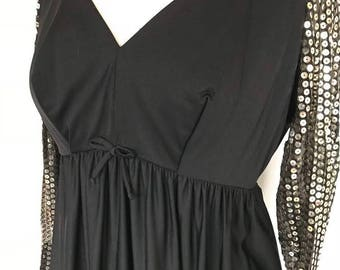 Best sequin mesh sleeved vintage black maxi dress with bow