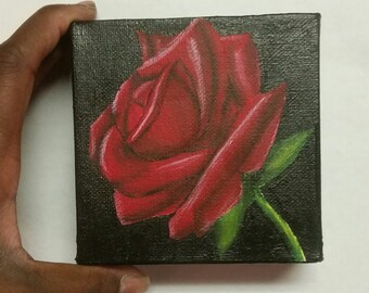Acrylic Painting- Original Acrylic Painting-Rose-Mini Painting-4x4-Red-Black