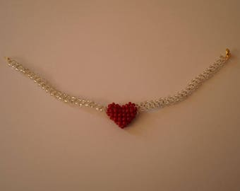 """Bracelet beaded with his little red heart """"Madeleine"""""""
