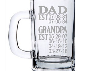 Fathers Day Gift, Grandpa Gift, Father's Day Gift for Grandpa, Grandpa Mug, Papa Gifts, Dad Gift, Fathers Day, Papa Beer Mug, Grandpa Est