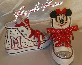 Minnie Mouse Converse / Minnie / Chucks/ Name / Initial / Ribbon / Birthdays / Girls Minnie Converse / Red / Pokka Dot / Kids shoes