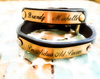 Personalized Brass Plate Leather Bracelet