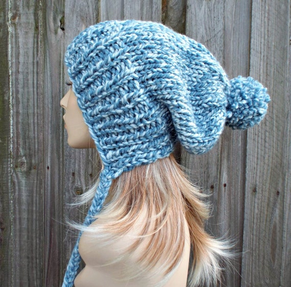 Peppermint Light Mixed Blue Slouchy Womens Knit Hat - Charlotte Ear Flap Pom Pom Beanie - Womens Pom Pom Hat