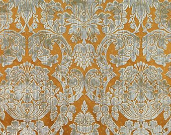 "Scalamandre Palazzo D'oria Antique Green / Gold, Cotton / Silk Velvet Fabric  49"" long"