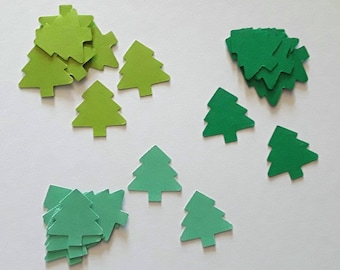 Set of 30 paper, green Christmas trees, 2.3 cm