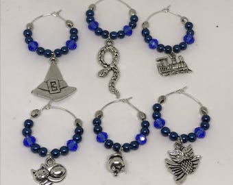 Set of 6 witch and wizard themed wine glass charms