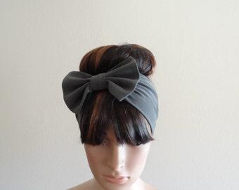 Dark Grey Bow Head Wrap. Headband