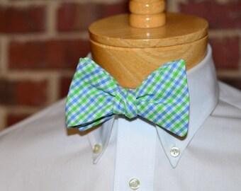 Cornflower & Lime Tattersall Bow Tie~Mens Self Tie Bow Tie~Mens Pre-Tied~Anniversary Gift~HoBo Ties~Cotton Bow Tie~Wedding